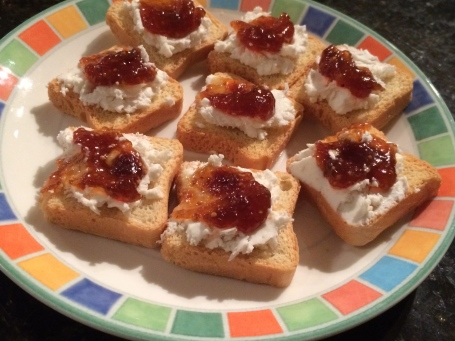 Mini Toasts, Goat Cheese and Fig Jam