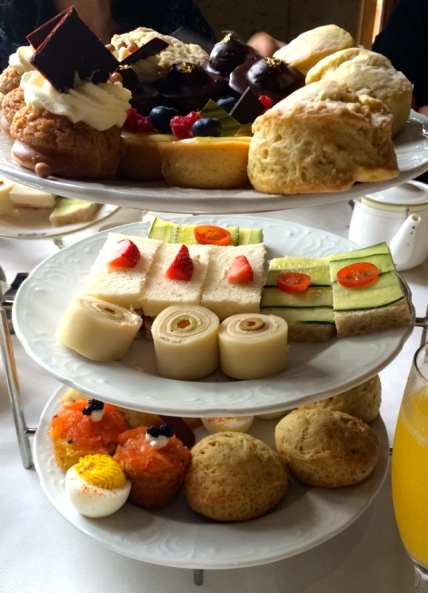 Scones, Petit Fours, Devlied Eggs, Turkey & Guava mini sandwiches, smoked salmon, to name a few.