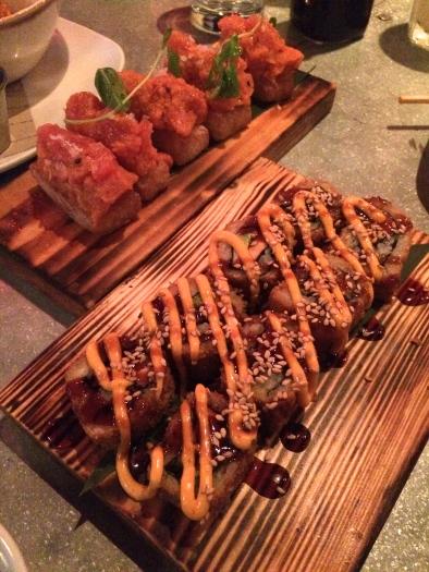 Crispy Rice with Tuna and Salmon Avocado Roll